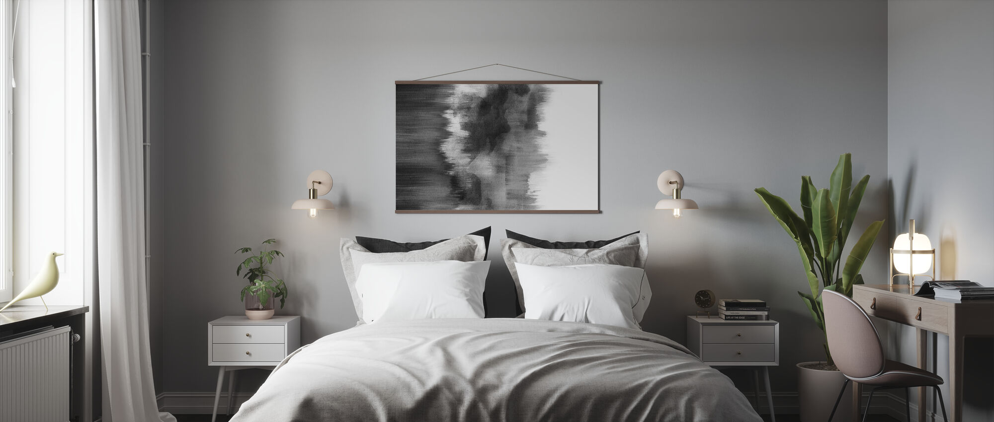 Watercolor Brush Strokes Black - Poster - Bedroom