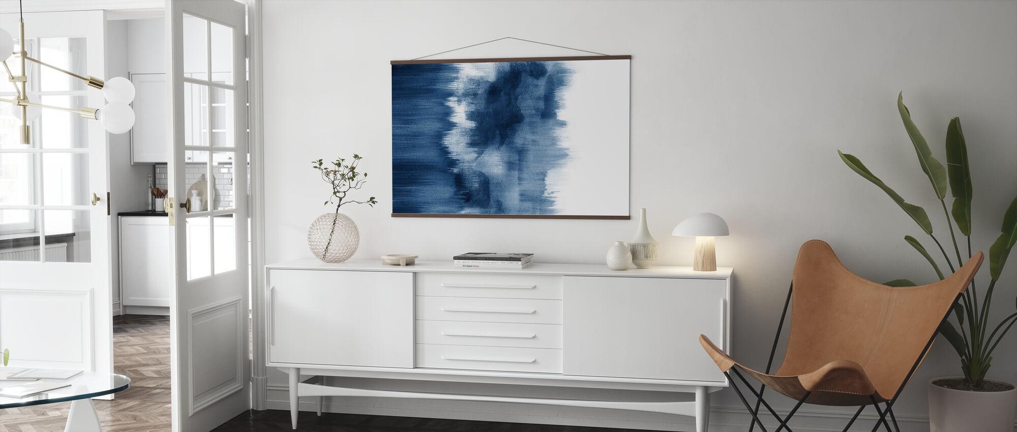 Akvarelli sivellin aivohalvauksia Indigo Sininen - Juliste - Olohuone