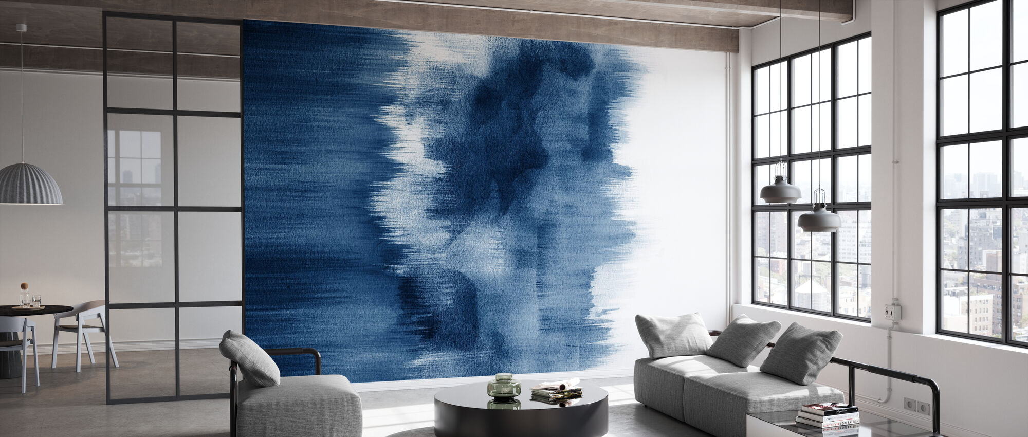 Watercolor Brush Strokes Indigo Blue - Wallpaper - Office