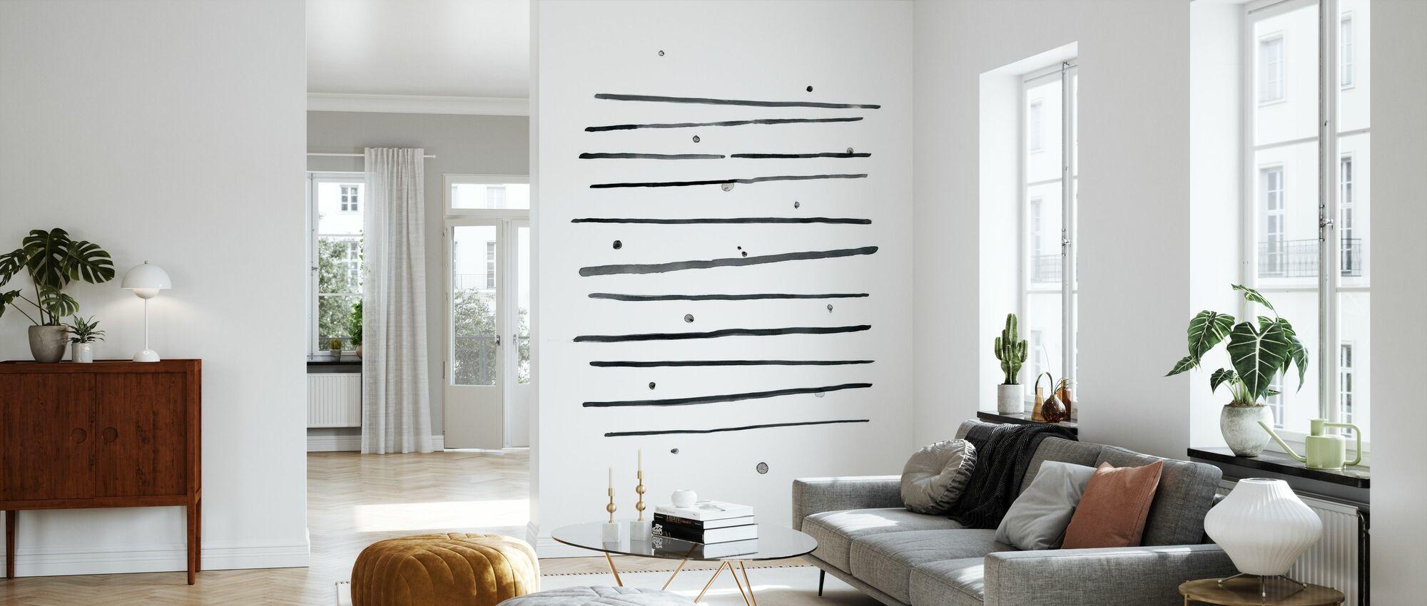 Watercolor Lines and Dots I - Wallpaper - Living Room