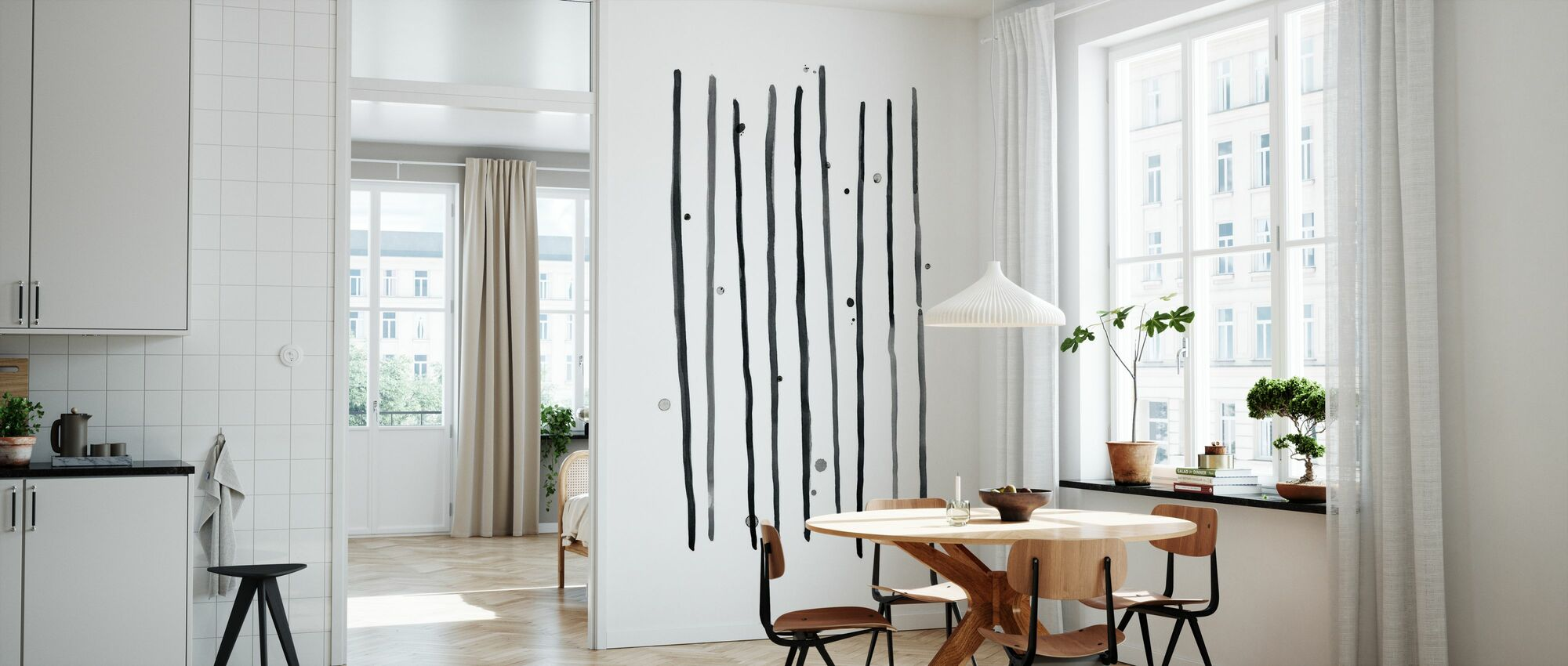 Aquarel lijnen en stippen II - Behang - Keuken