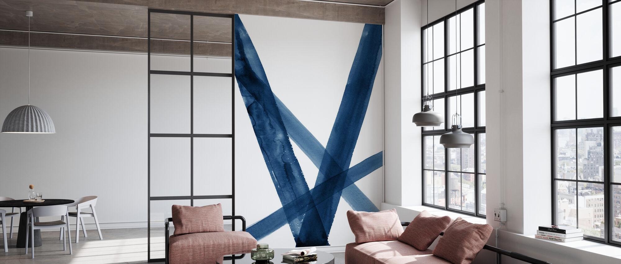 Akvarelinjer II Blå - Tapet - Kontor