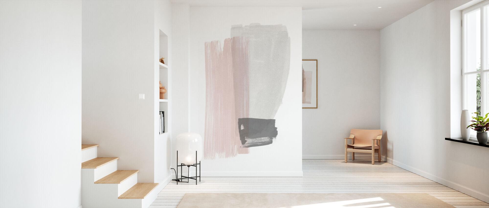 Penselstrøk - rosa og grå - Tapet - Gang