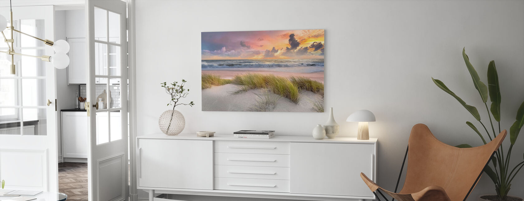 Gras in Strand Zand - Canvas print - Woonkamer