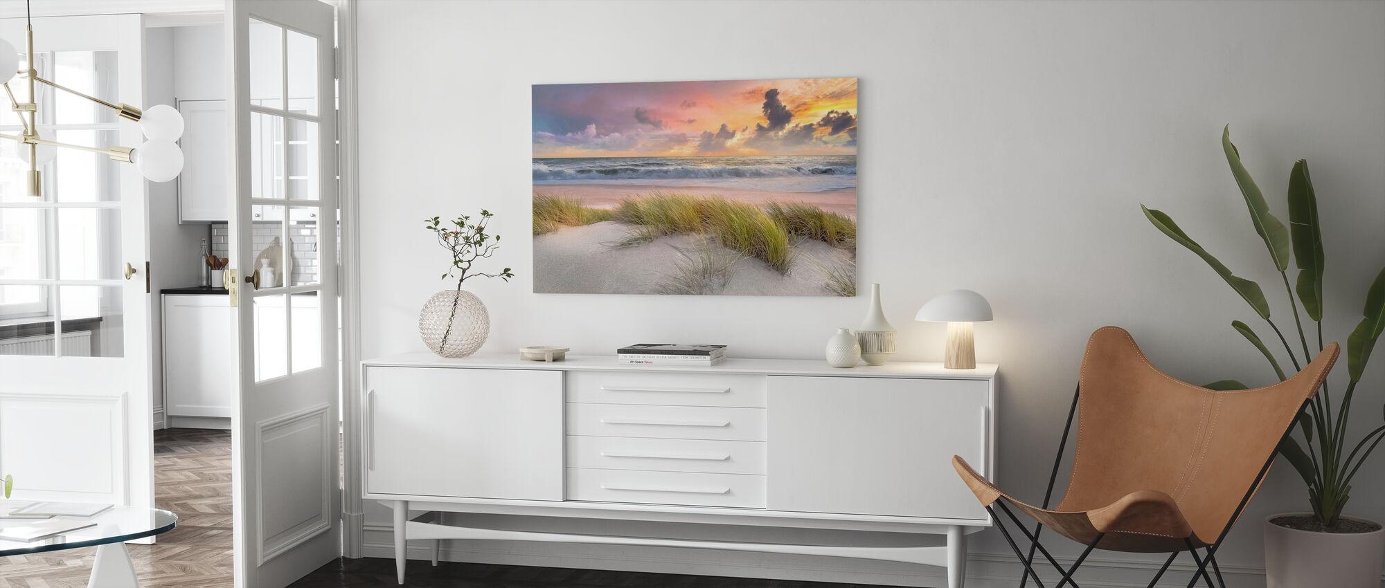 Gräs i Strandsand - Canvastavla - Vardagsrum
