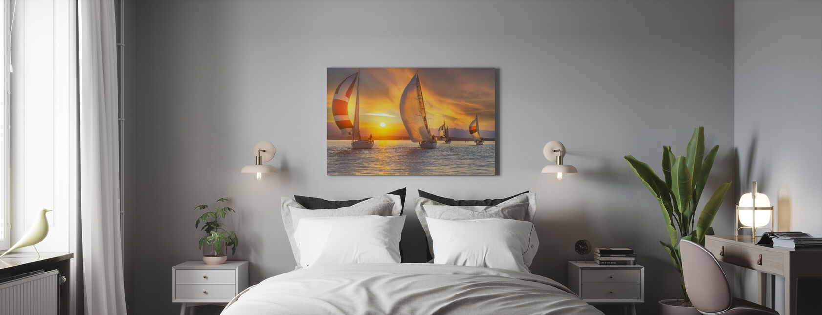Sail Under the Sunset - Canvas print - Bedroom