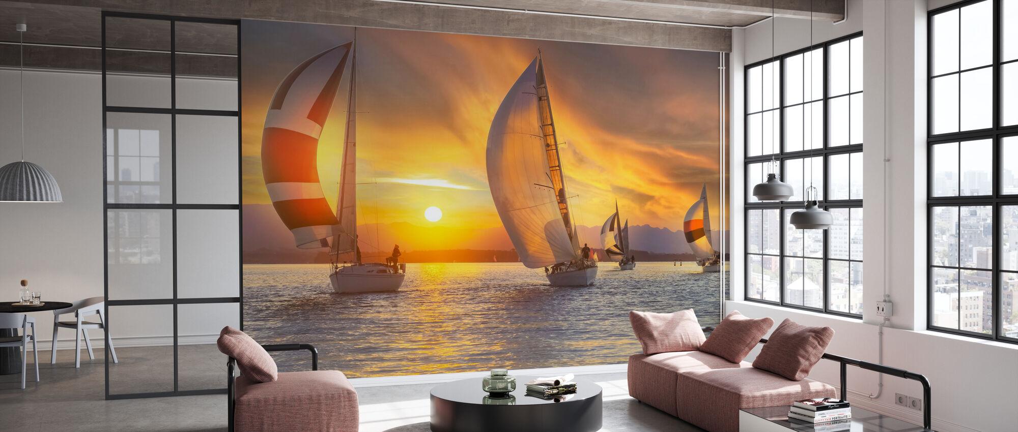 Sail Under the Sunset - Wallpaper - Office
