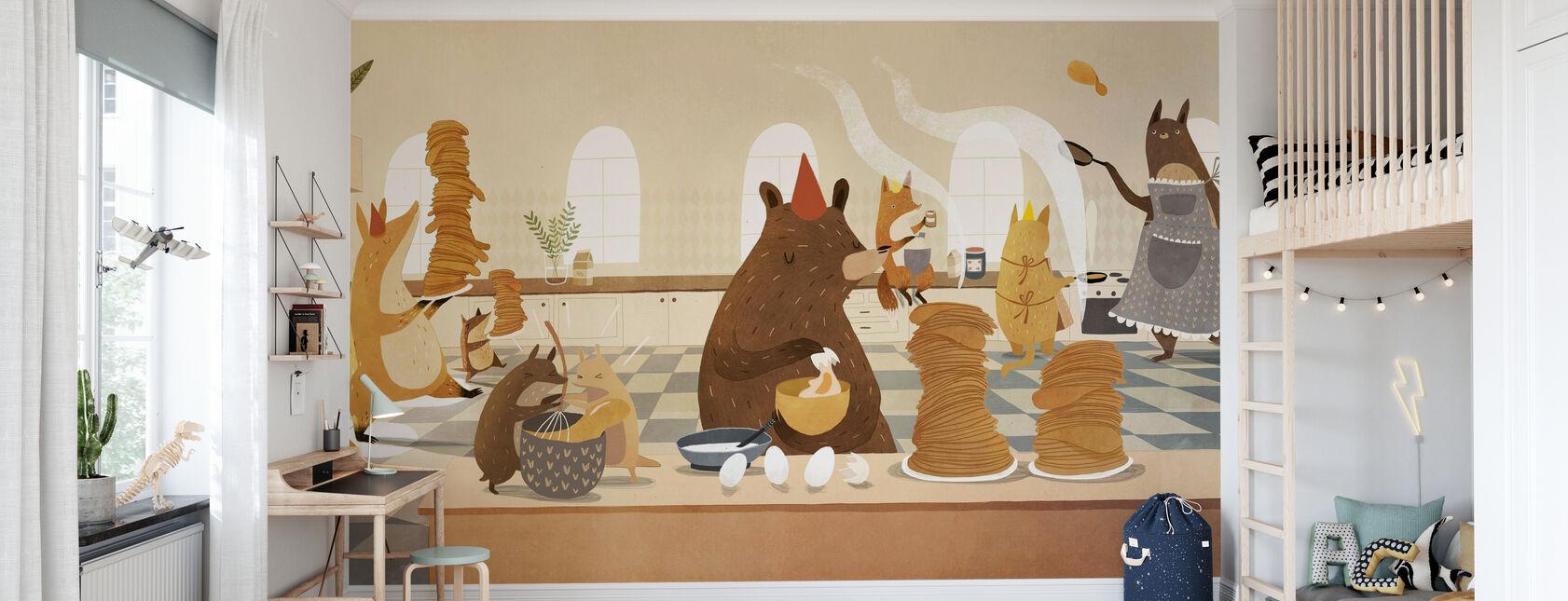 Flipping Pfannkuchen Freunde - Tapete - Kinderzimmer