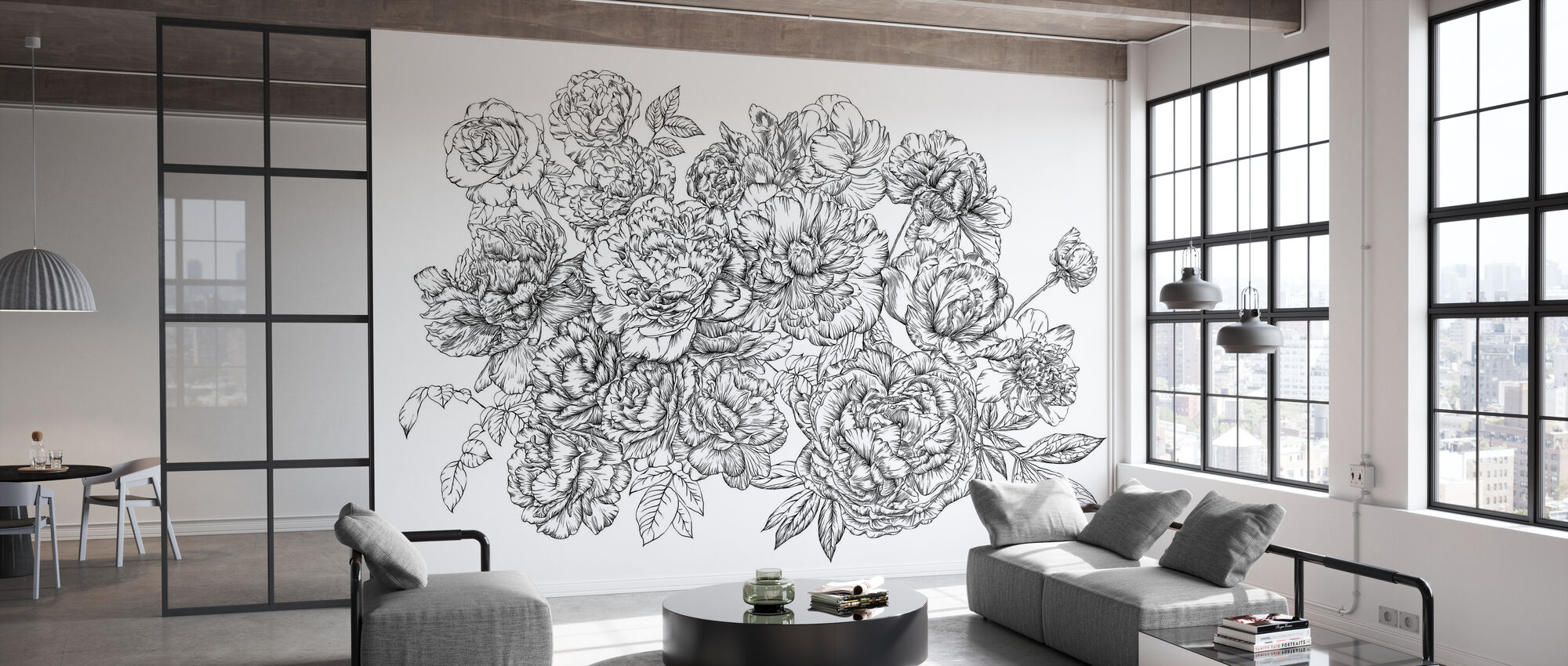 Blossom Outline - White - Wallpaper - Office