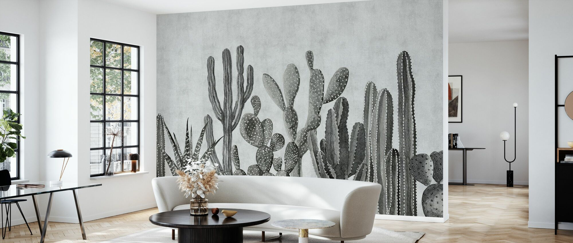 Atacama Cactus - Bw - Wallpaper - Living Room