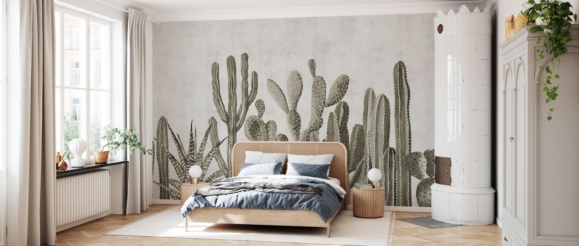 Atacama Cactus - Sepia - Wallpaper - Bedroom