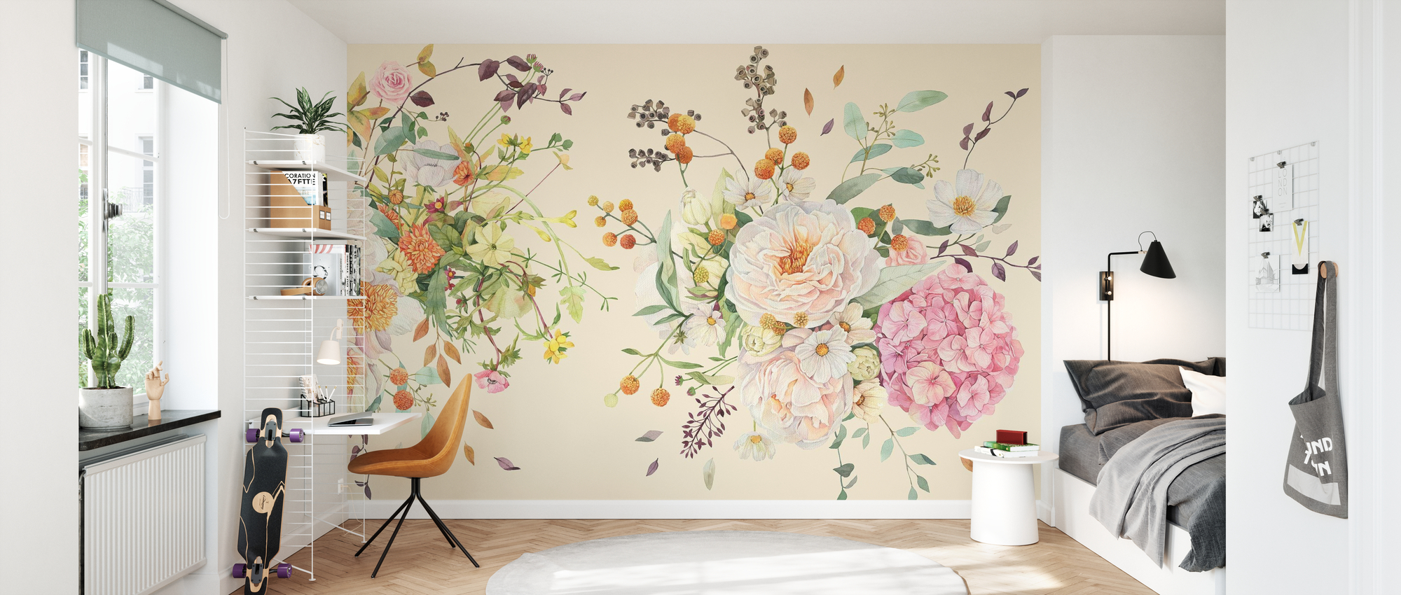 Large Pearl Vase Wall Stickers Flower Mural Porch Wallpaper Wall Room decoration