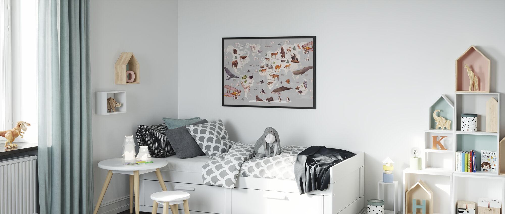 Mappa del mondo degli animali - Stampa incorniciata - Camera dei bambini