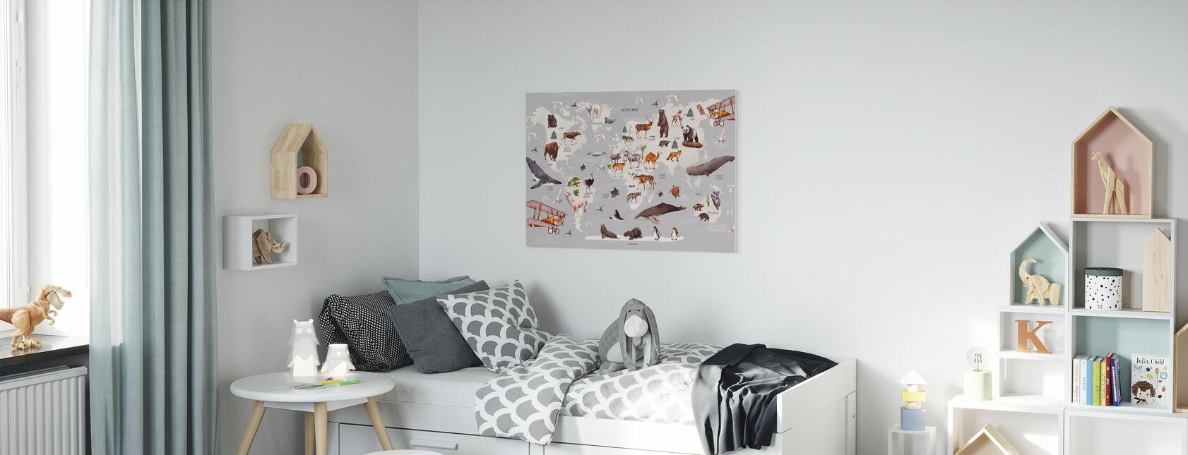 Carte du monde des animaux - Impression sur toile - Chambre des enfants