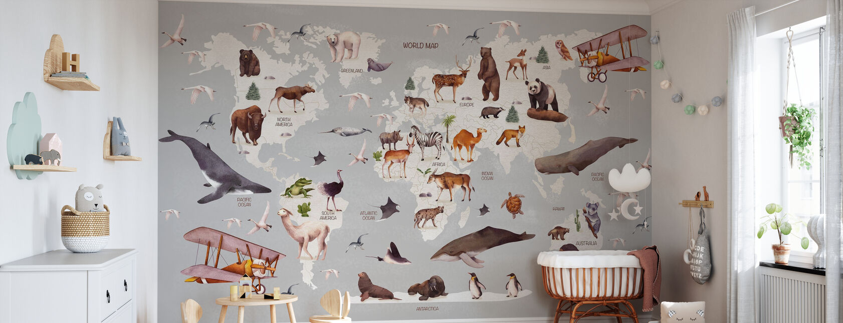 World of Animals Map - Wallpaper - Nursery