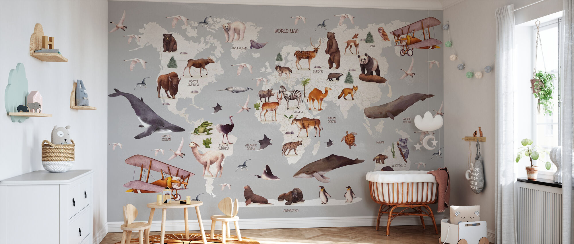 World of Animals Kaart - Behang - Babykamer