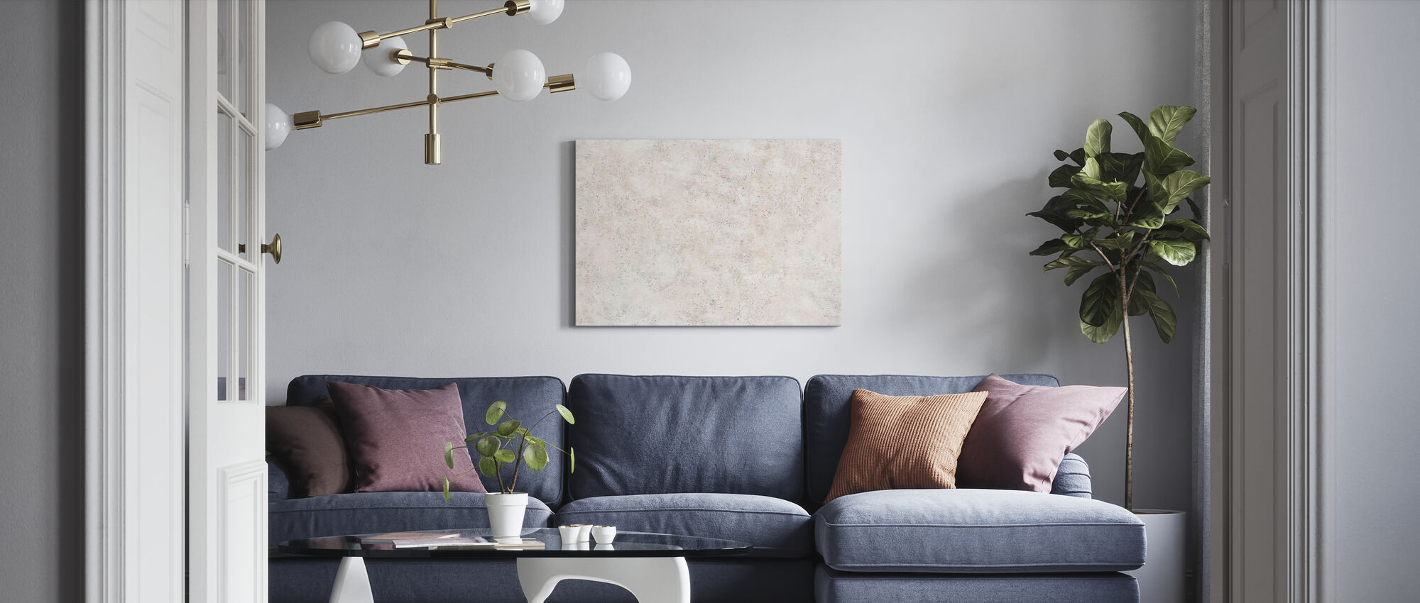 Rough Beige Concrete Wall - Canvas print - Living Room