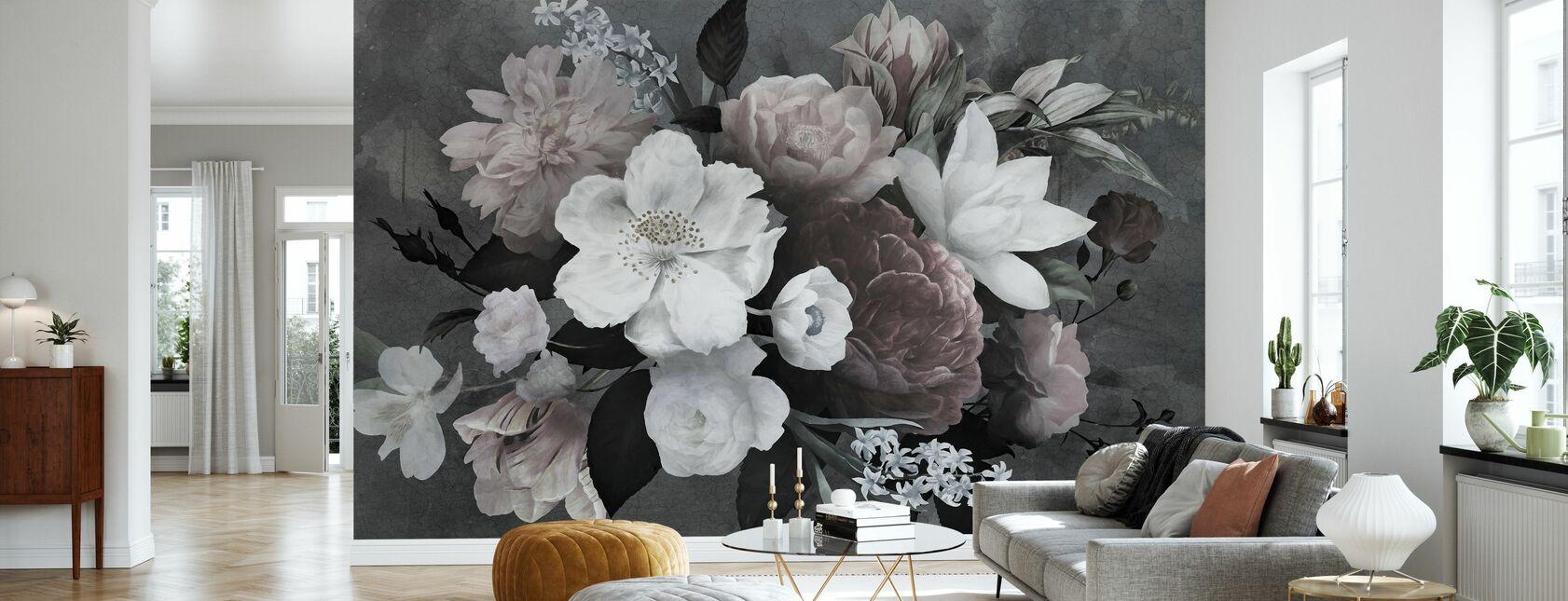 Vintage Blumen - Tapete - Wohnzimmer
