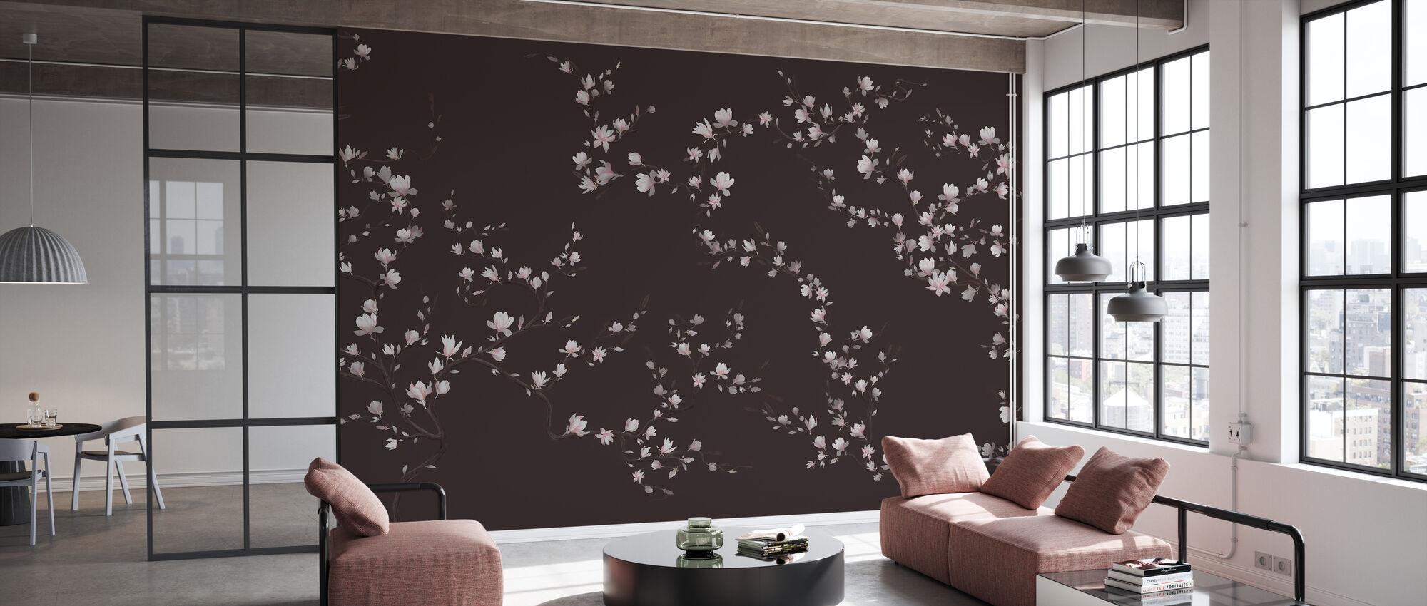 Bloeiende Magnolia - Koud Bruin - Behang - Kantoor