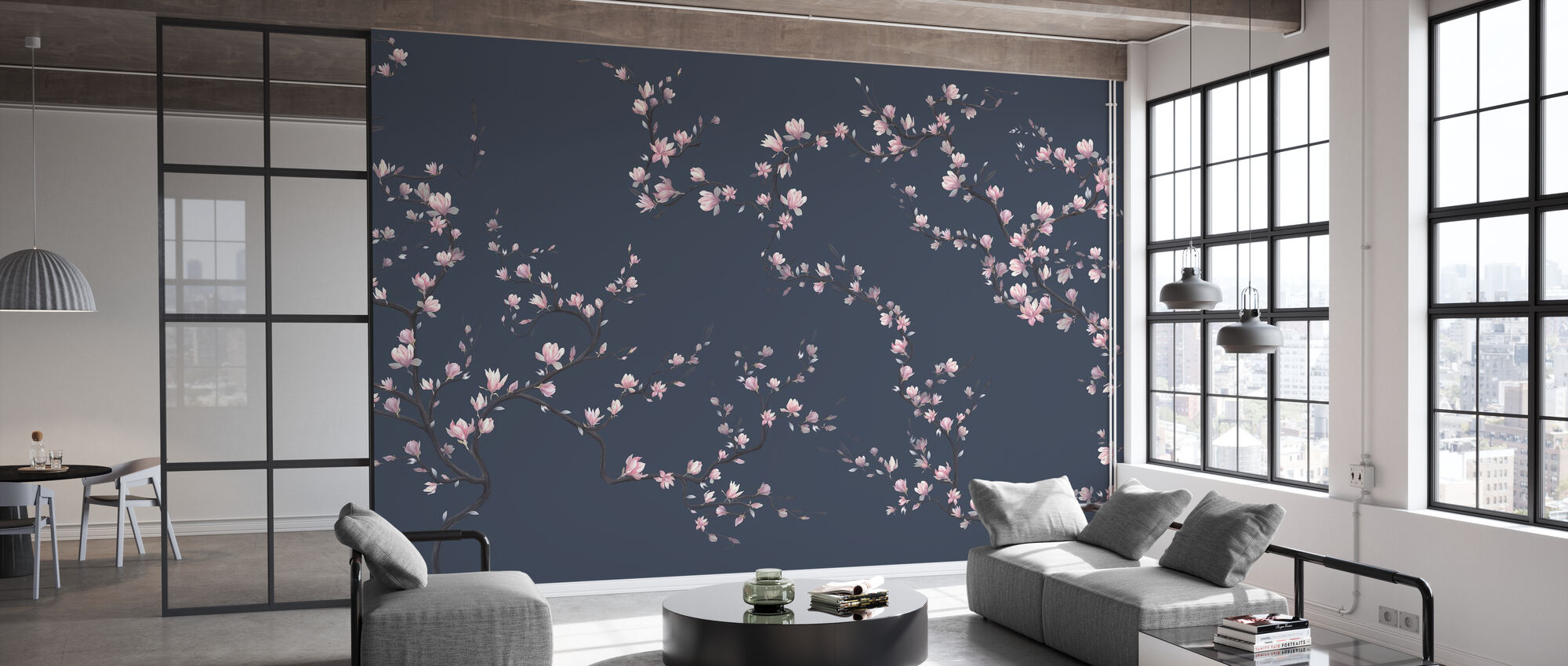 Flourishing Magnolia - Dark Blue - Wallpaper - Office