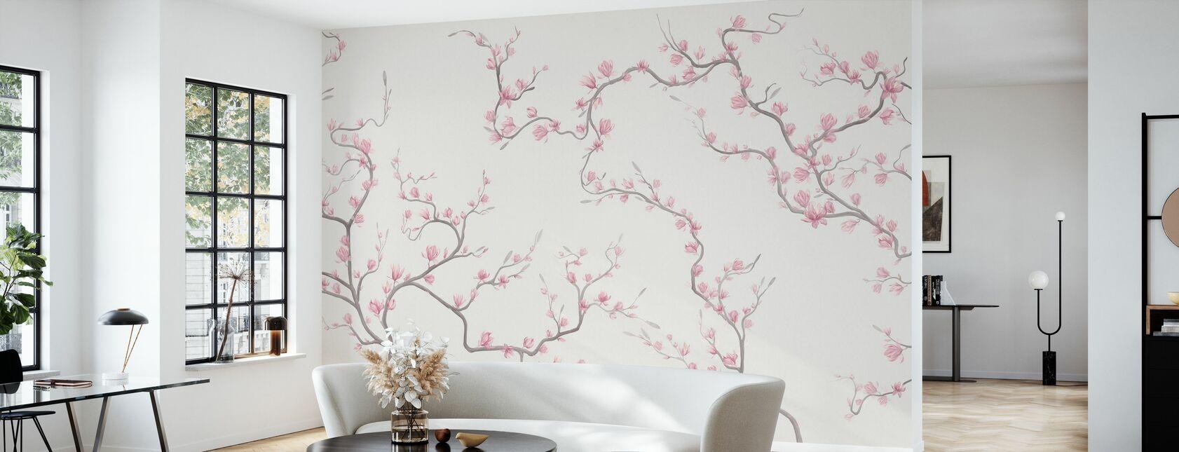 Bloeiende Magnolia - Natur - Behang - Woonkamer
