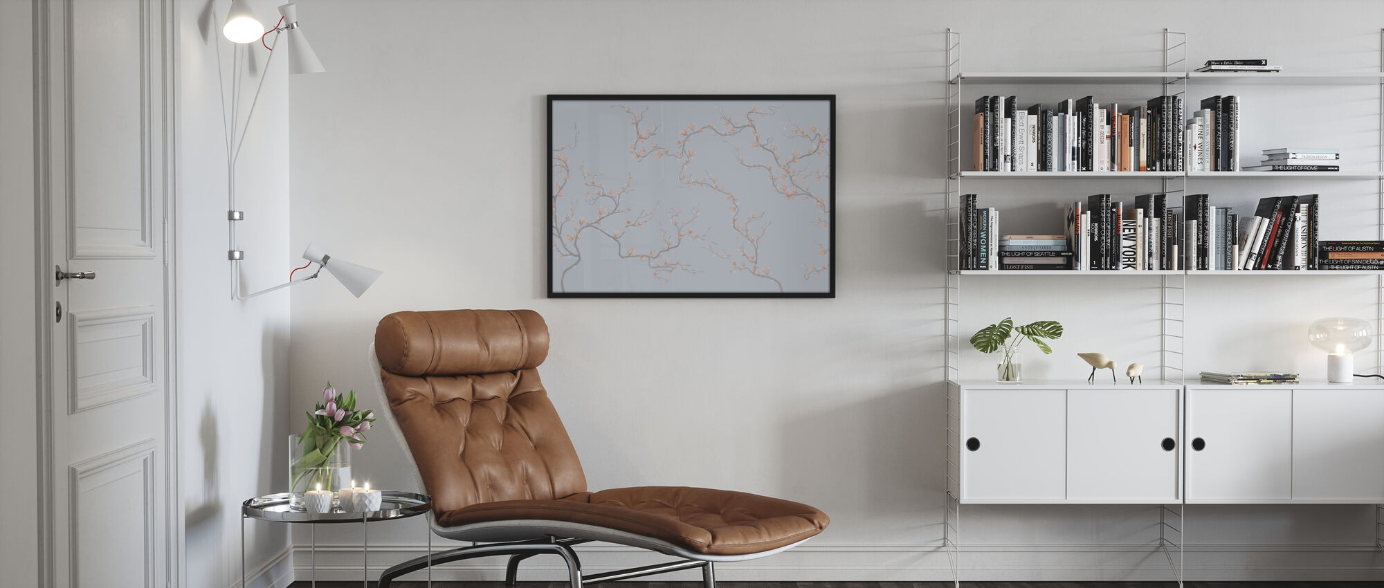 Flourishing Magnolia - Pale Blue - Poster - Living Room