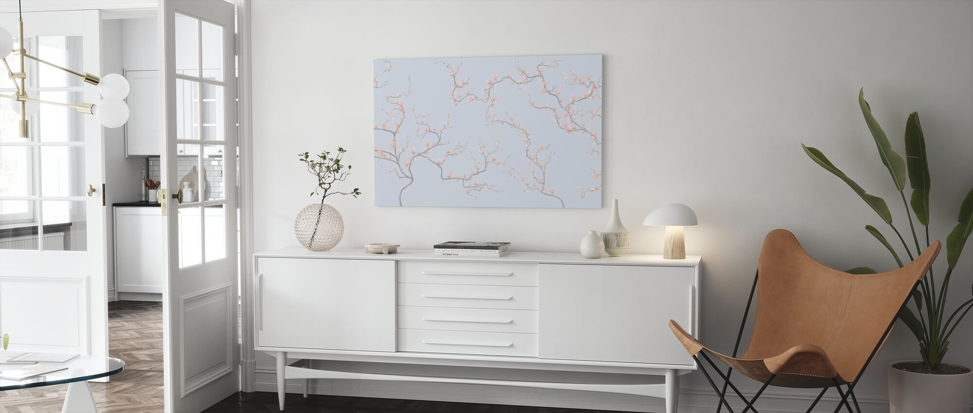 Flourishing Magnolia - Pale Blue - Canvas print - Living Room