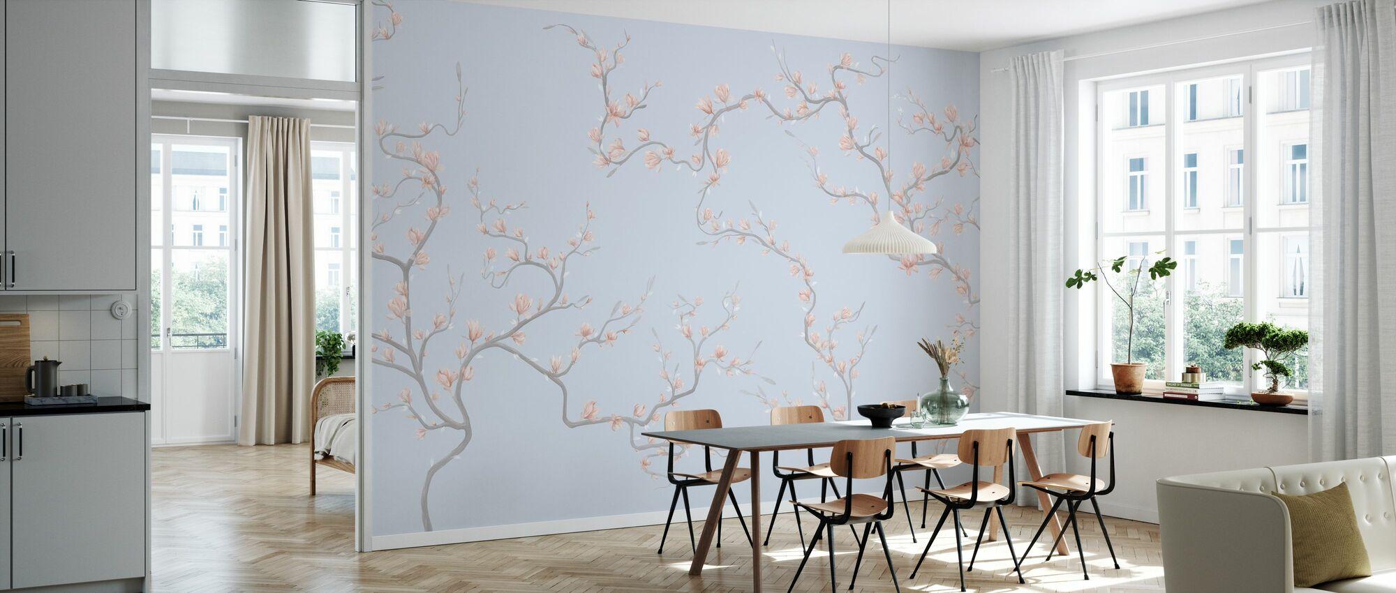 Flourishing Magnolia - Pale Blue - Wallpaper - Kitchen