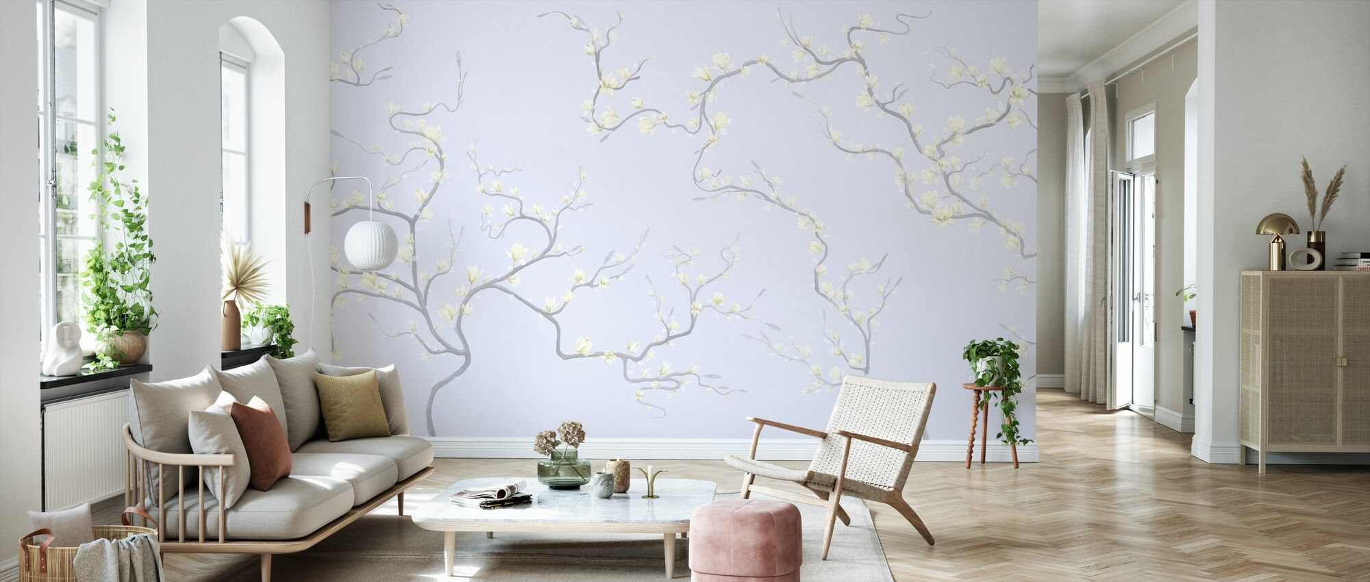 Flourishing Magnolia - Pale Violet - Wallpaper - Living Room