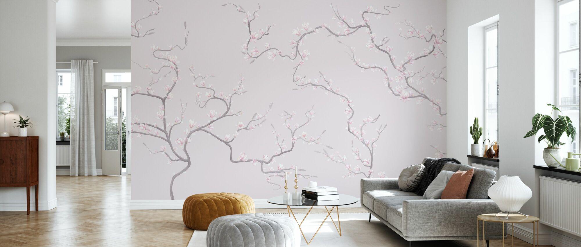 Flourishing Magnolia - Pink - Wallpaper - Living Room