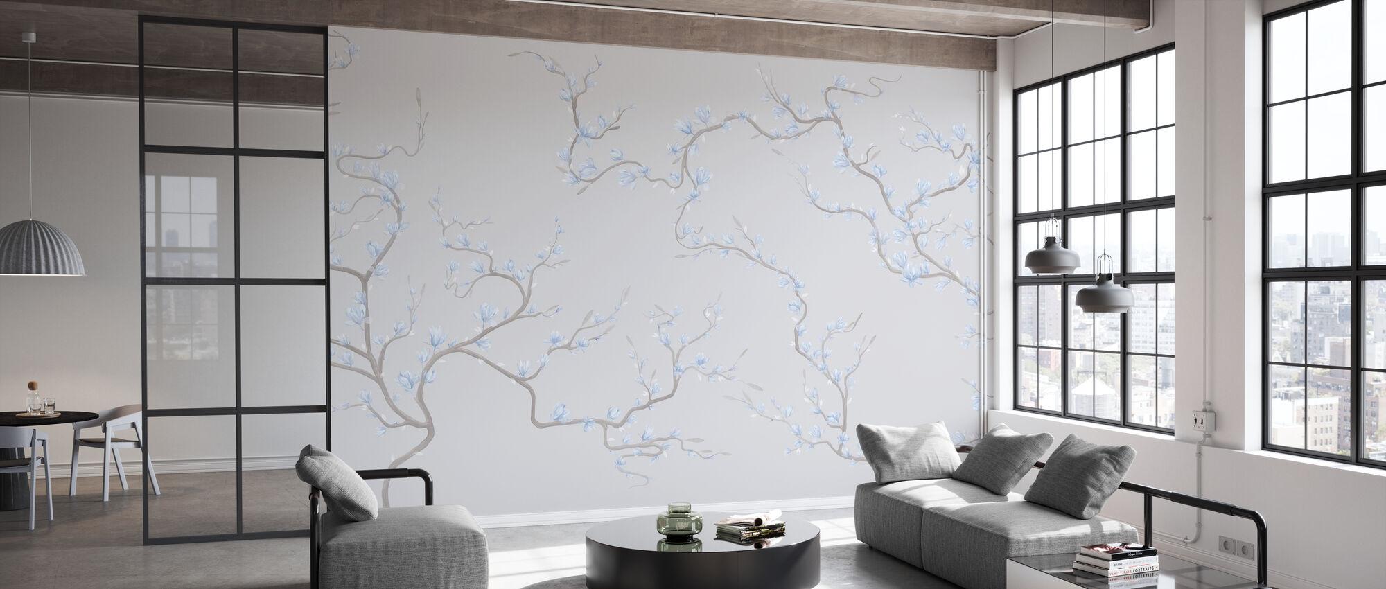 Flourishing Magnolia - Soft Gray - Wallpaper - Office