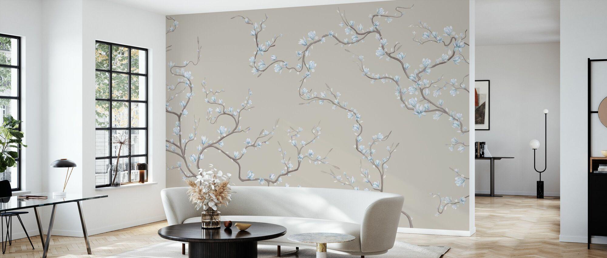 Flourishing Magnolia - Soft Natur Blue - Wallpaper - Living Room