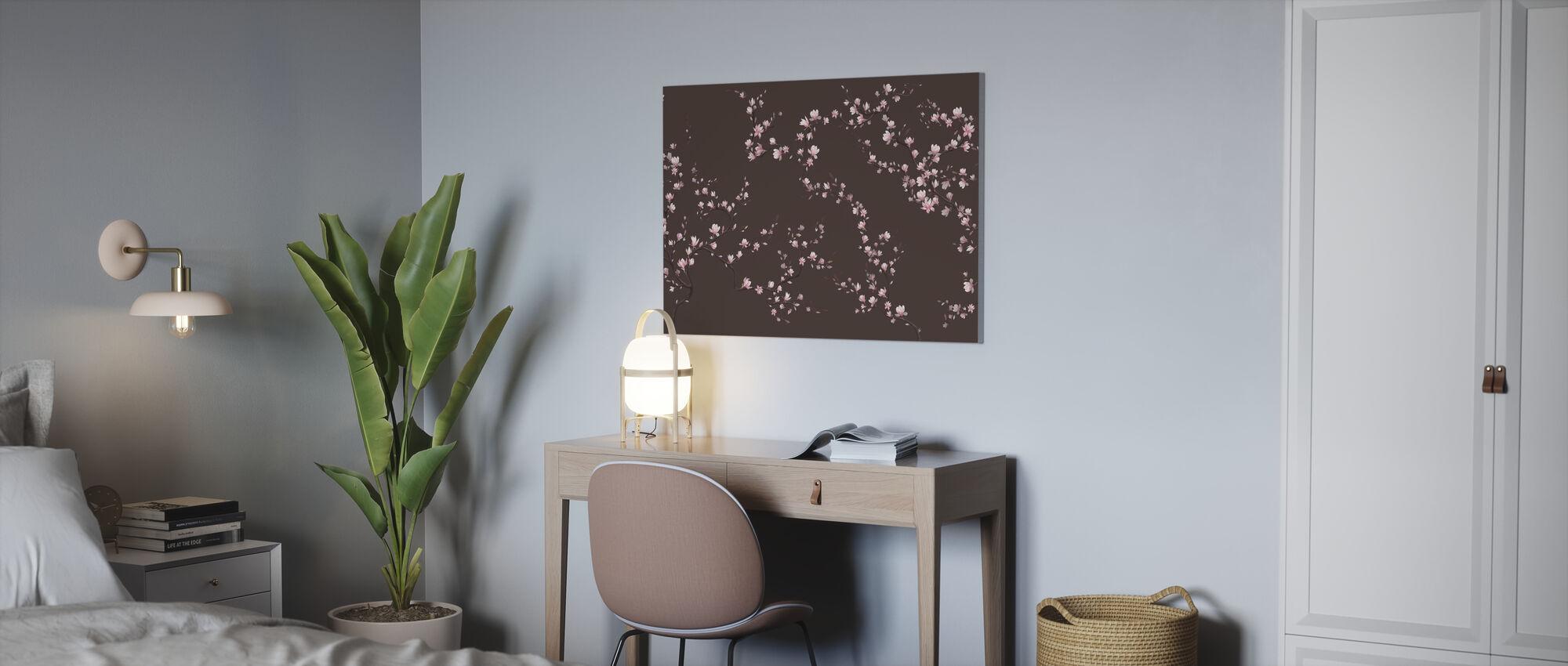Flourishing Magnolia - Warm Brown - Canvas print - Office