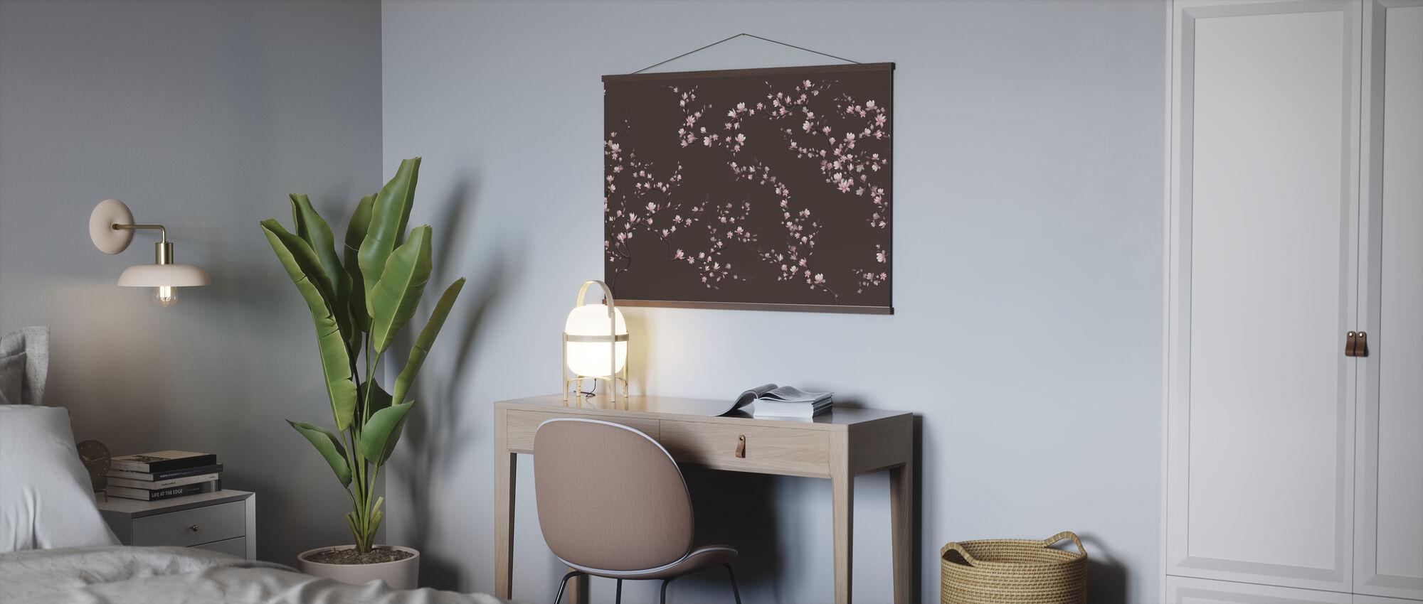 Flourishing Magnolia - Warm Brown - Poster - Office
