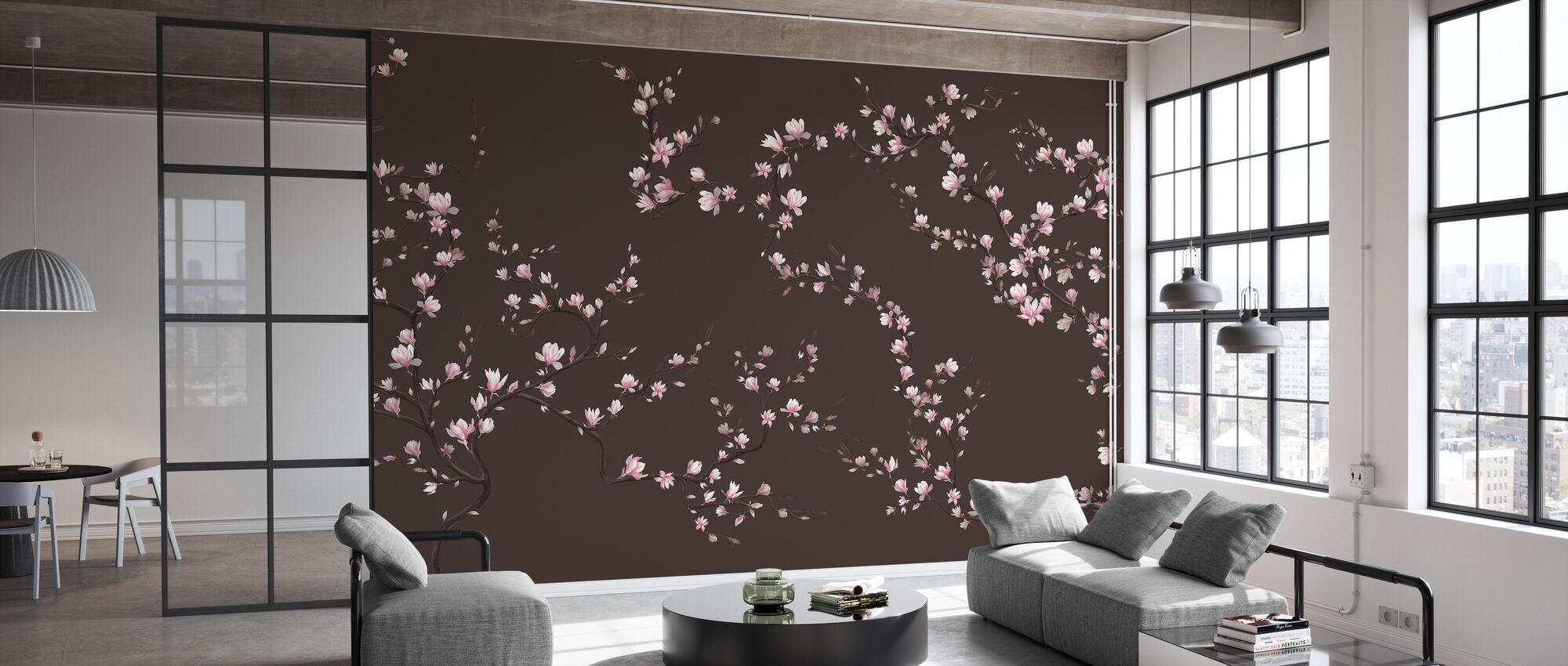 Blomstrande Magnolia - Varm Brun - Tapet - Kontor