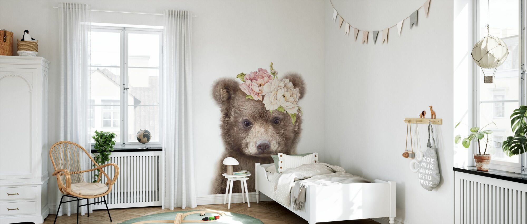 Blomstret Babybjørn - Tapet - Barnerom