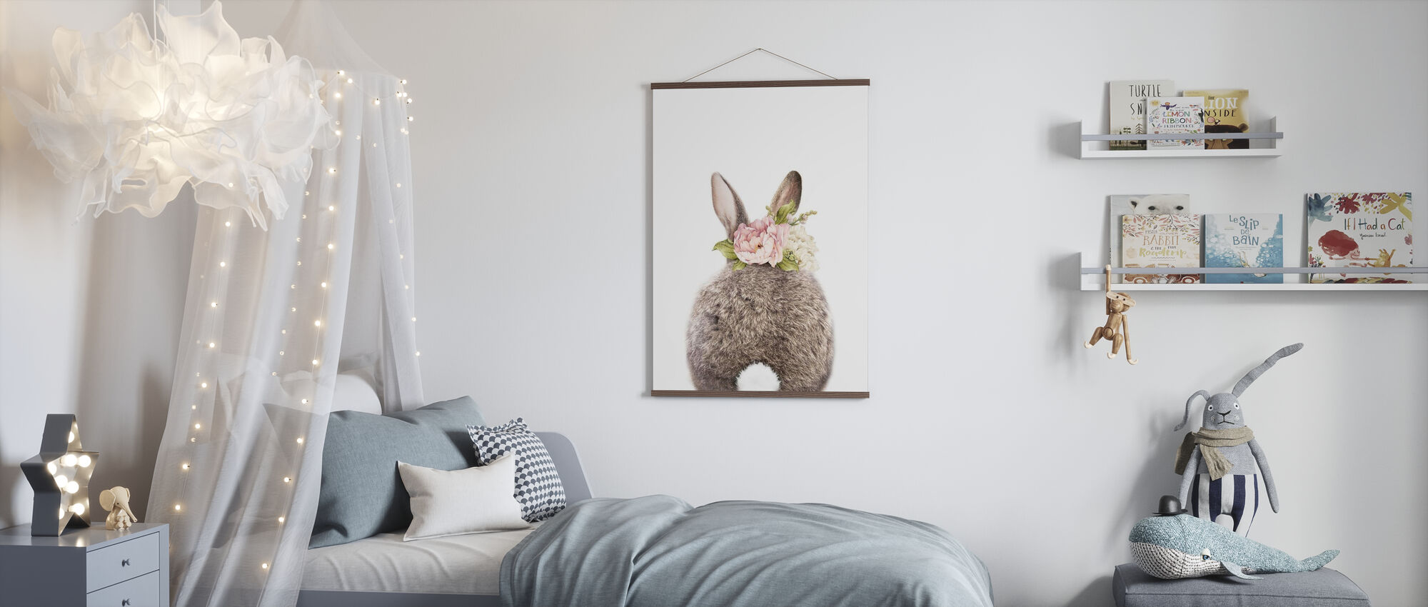 Floral Bunny - Tail - Poster - Kids Room