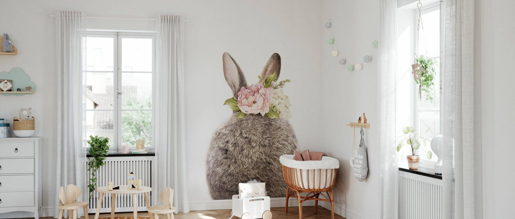 Floral Bunny - Tail - Wallpaper - Nursery