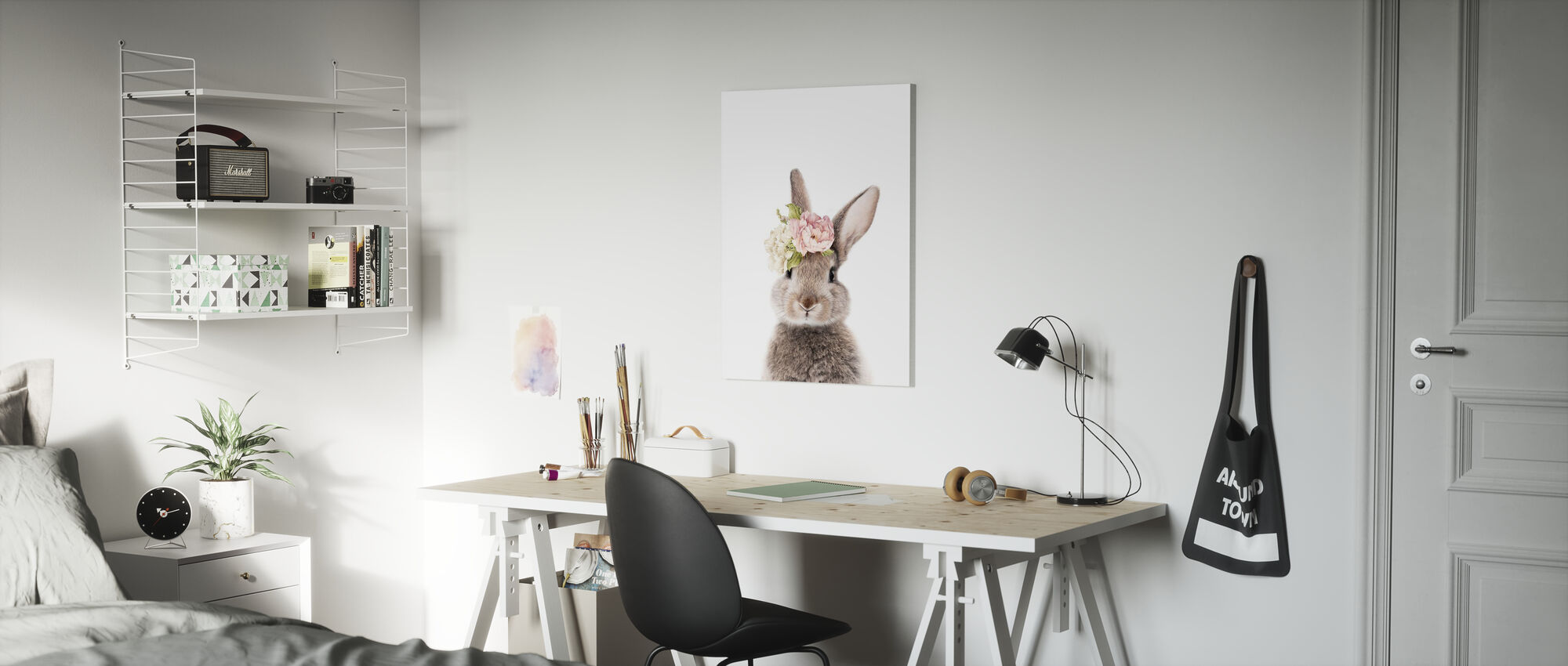 Floral Bunny - Canvas print - Kids Room