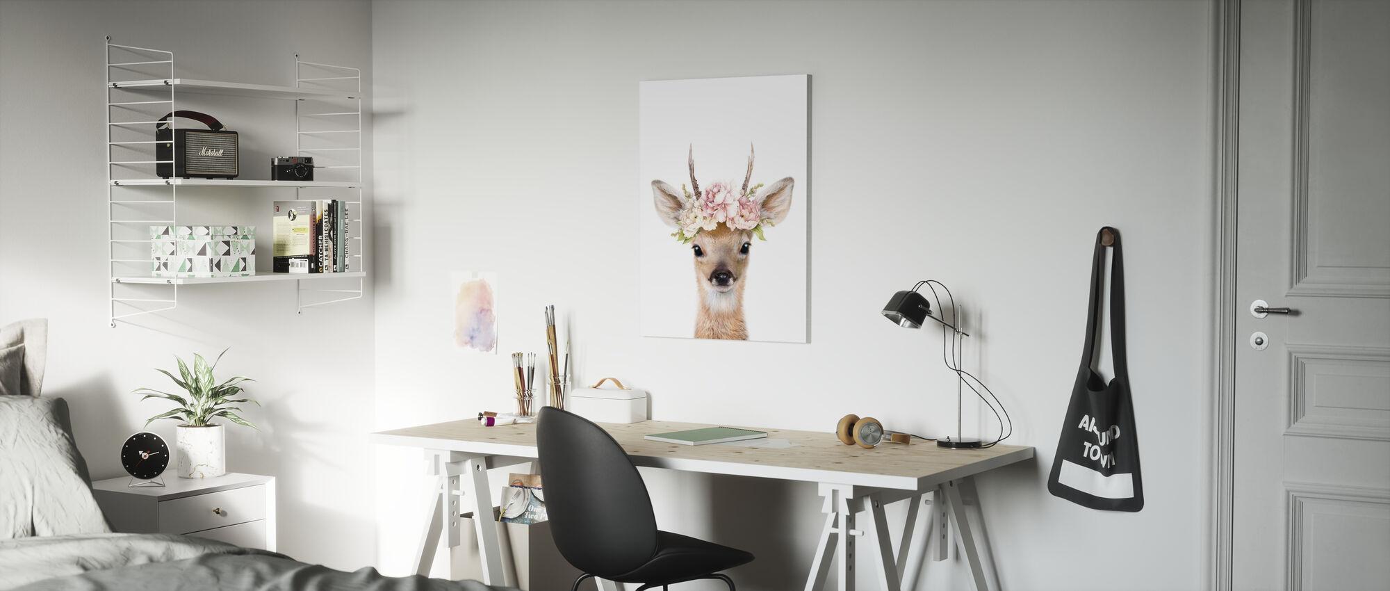 Floral Deer - Canvas print - Kids Room