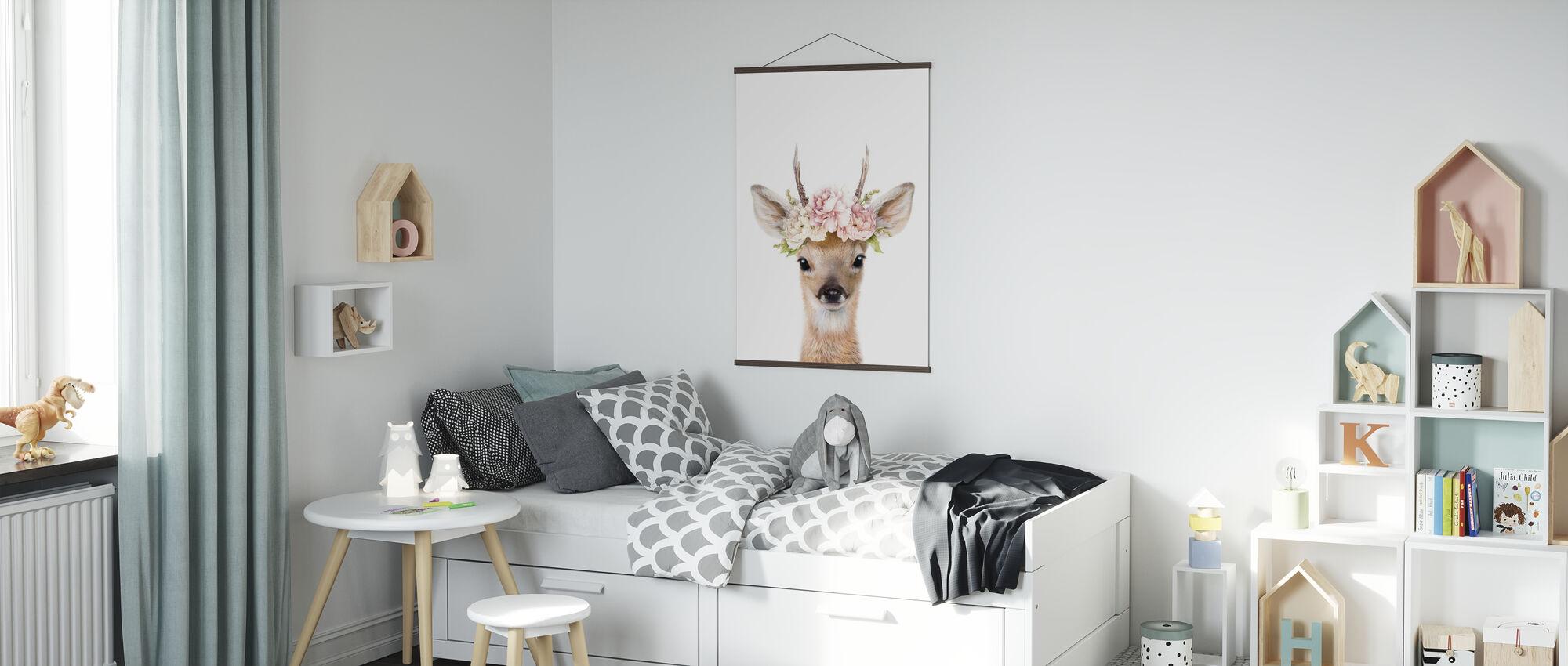 Floral Deer - Poster - Kids Room