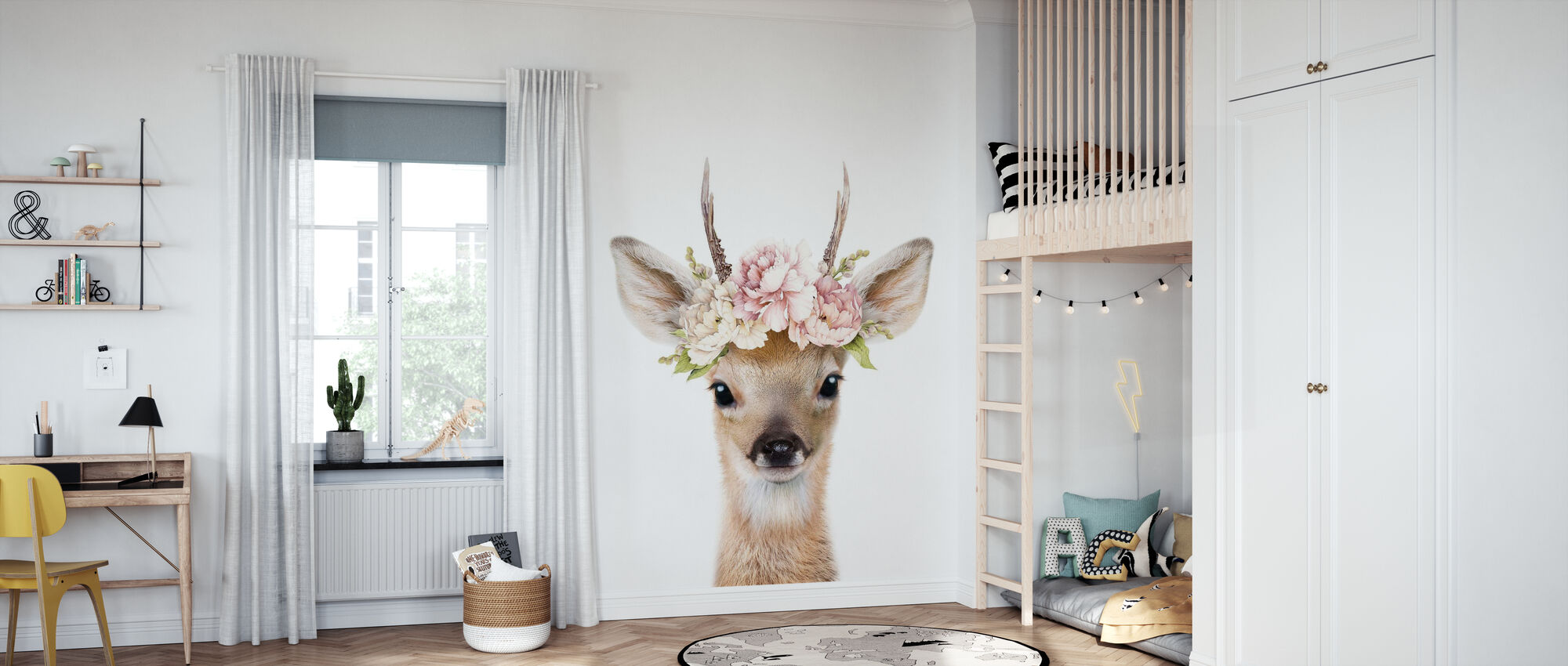 Floral Deer - Wallpaper - Kids Room