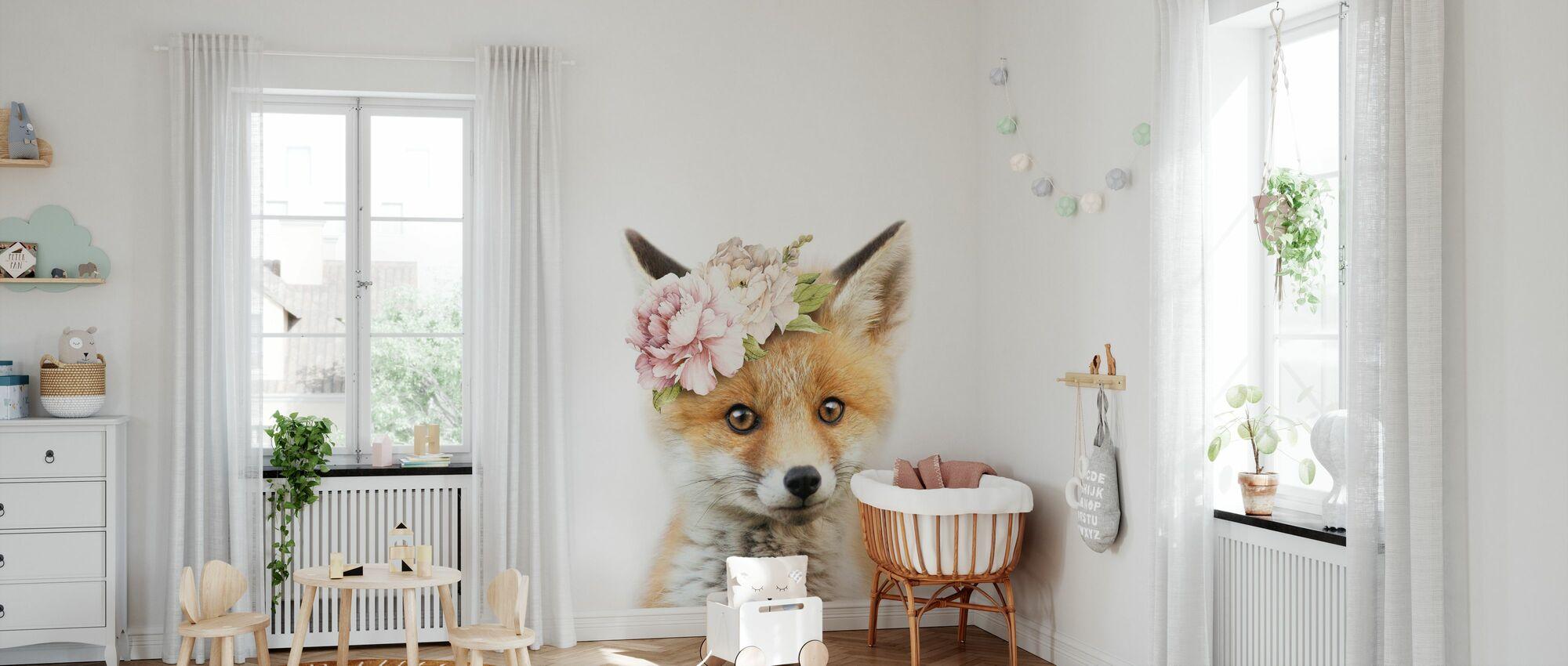 Blumen-Fuchs - Tapete - Babyzimmer