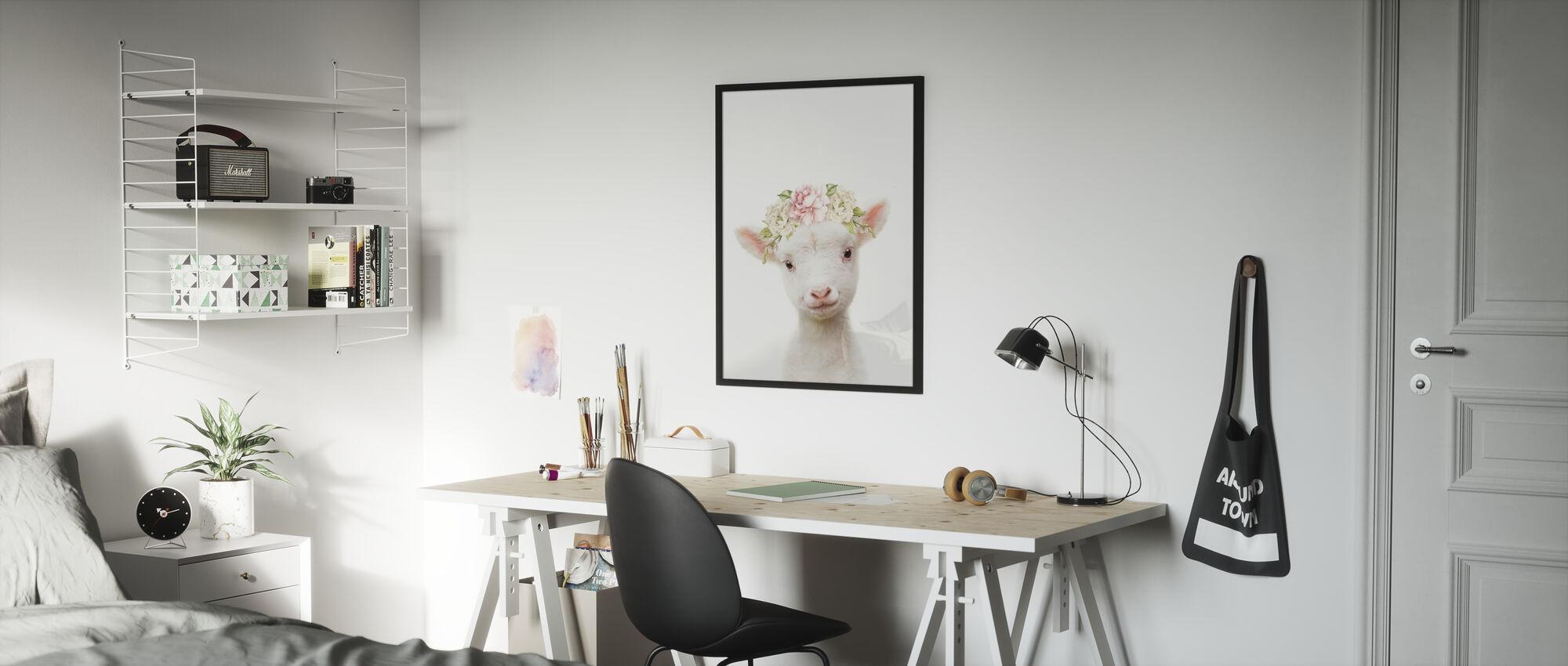 Cordero Floral - Póster - Cuarto de niños