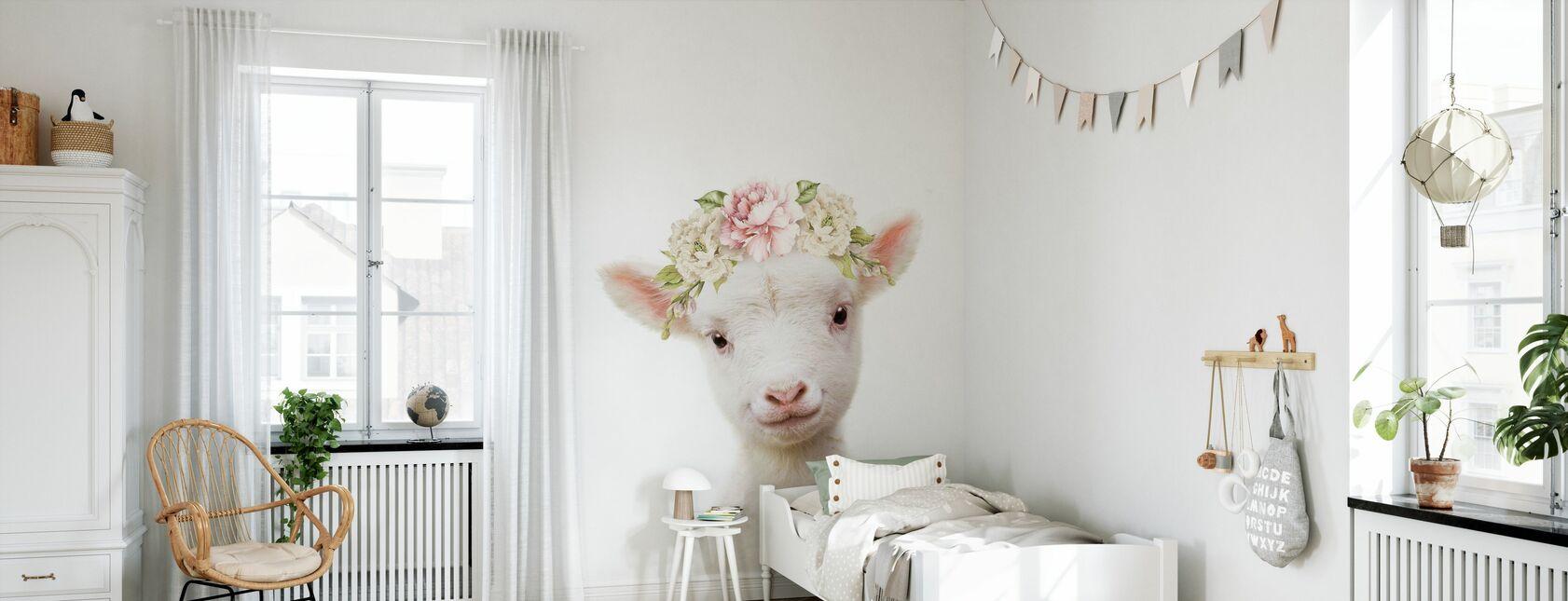 Lam met bloemen - Behang - Kinderkamer