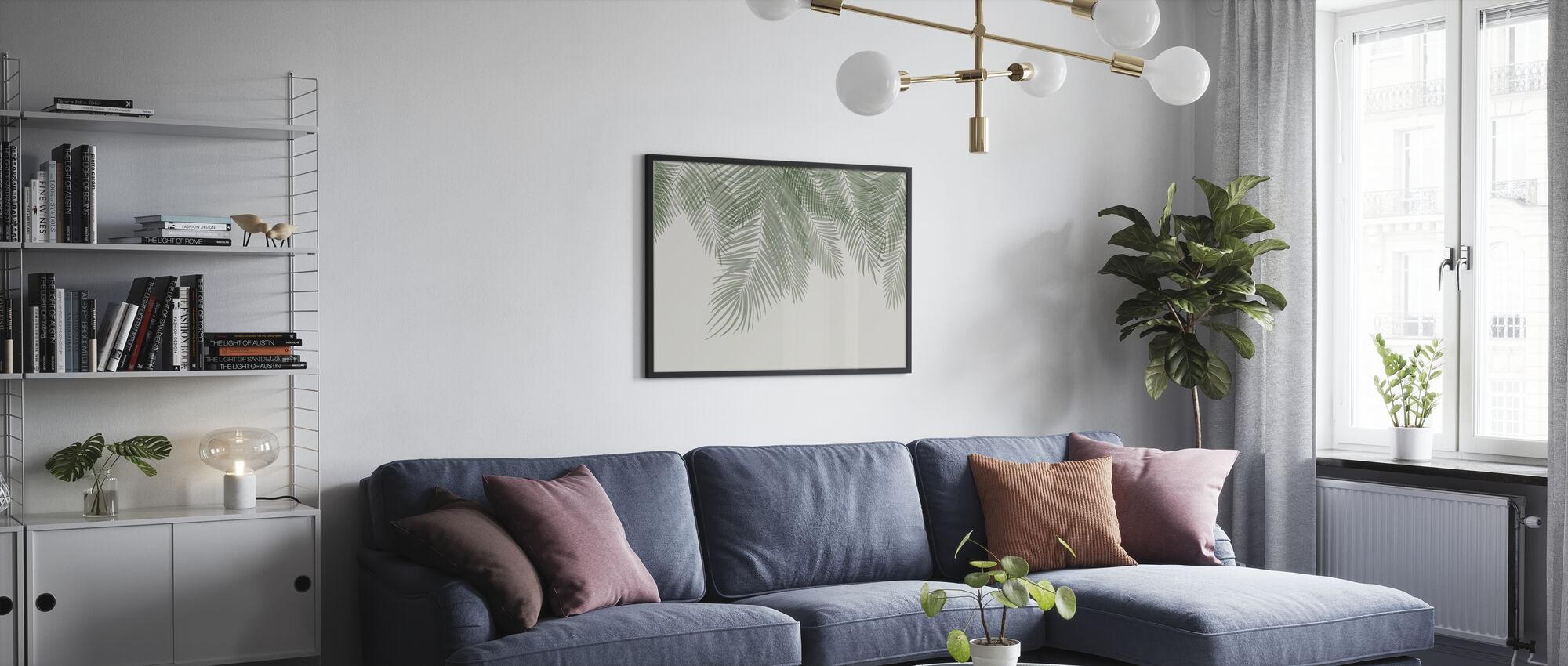 Hanging Palm Leaves - Beige-Green - Poster - Living Room