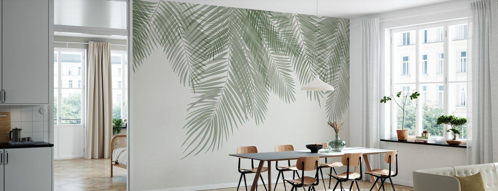 Hanging Palm Leaves - Beige-Green - Wallpaper - Kitchen