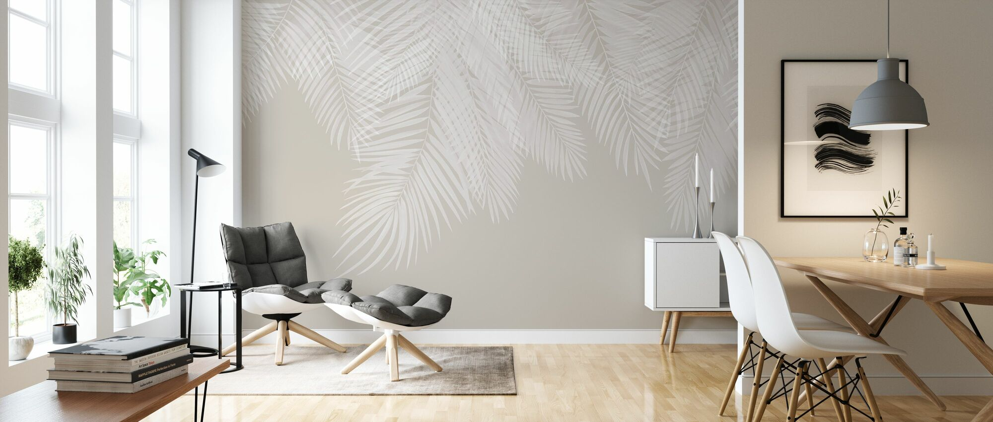 Hangende Palmbladeren - Beige-Wit - Behang - Woonkamer