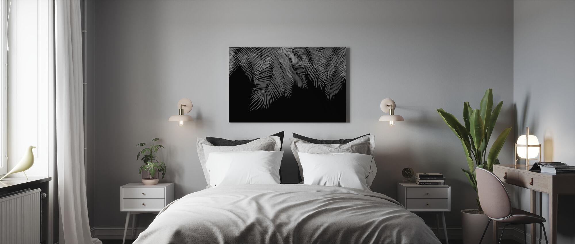 Foglie di palma da appendere - Nero-Bianco - Stampa su tela - Camera da letto