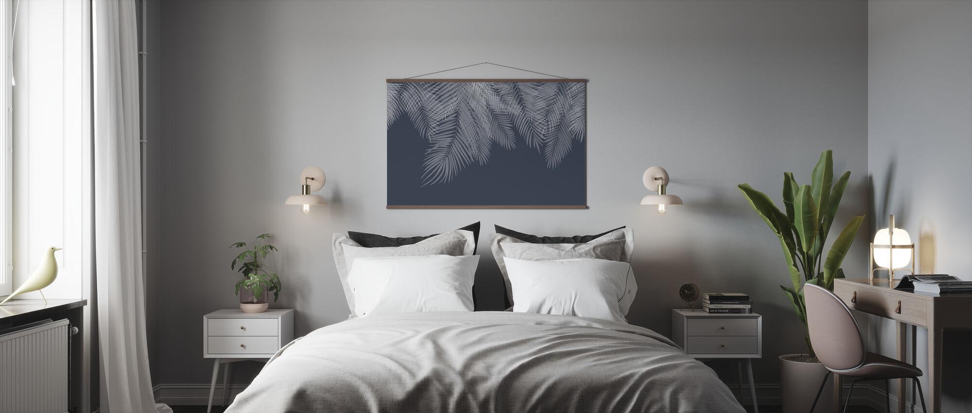 Hanging Palm Leaves - Blue - Poster - Bedroom
